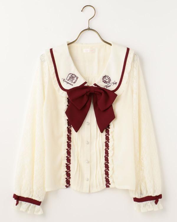 衿刺繍ブラウス