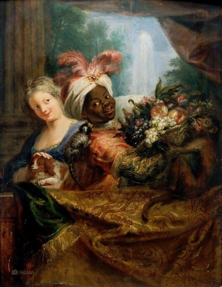 Antoine Coypel: Jonge moor die een mand fruit vasthoudt en meisje dat haar hondje streelt. 1682. Louvre, Parijs. Geschilderd in de trant van Gerard Dou. In een oude inventaris van Dou's schilderijen werd het voor een kopie van Gerard Dou gehouden.