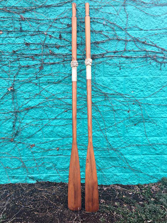 Pair Vintage Oars Wooden Oars Rustic Oars Boat Oars With Wooden Oars Boat Oars Lake Cottage