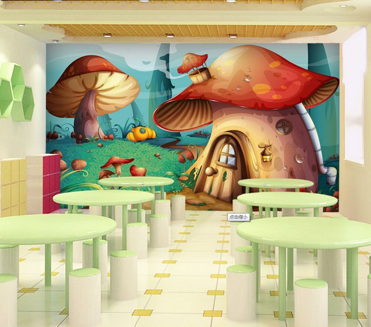 Free shipping children 39 s room mural wallpaper living room for Cartoon mural wallpaper