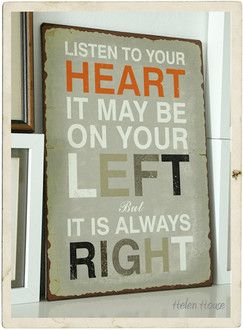 "Tablica dekoracyjna ""LISTEN TO YOUR HEART"" HelenHouse"