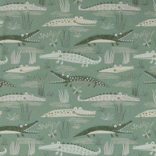 Bomuld lys/mørk grøn m krokodiller