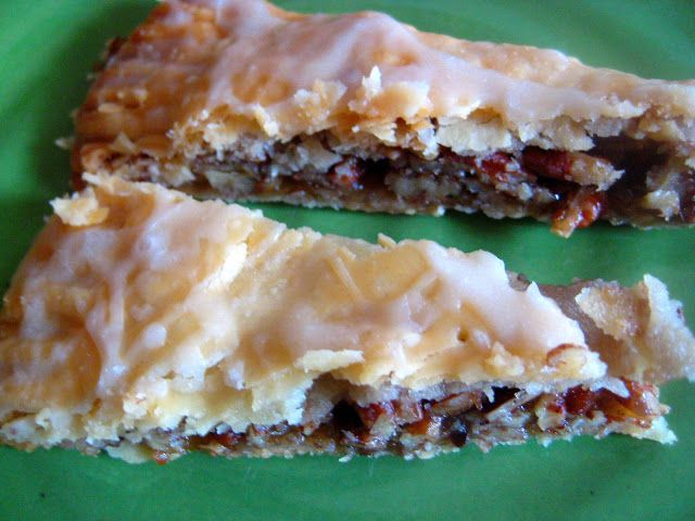 Pecan Kringle 1 Pillsbury refrigerated pie crust  2/3 C chopped pecans 1/3 C packed brown sugar 3 T butter, softened  1/2 C powdered sugar 1/4 t vanilla 2 to 3 t milk