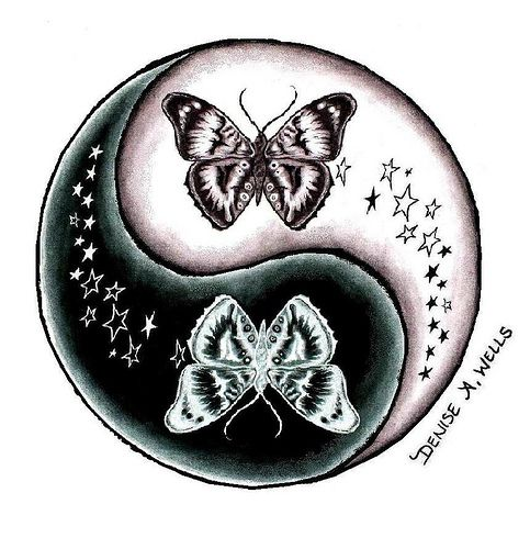 Butterfly and Stars Yin Yang tattoo design by Denise A. Wells | Flickr: Intercambio de fotos