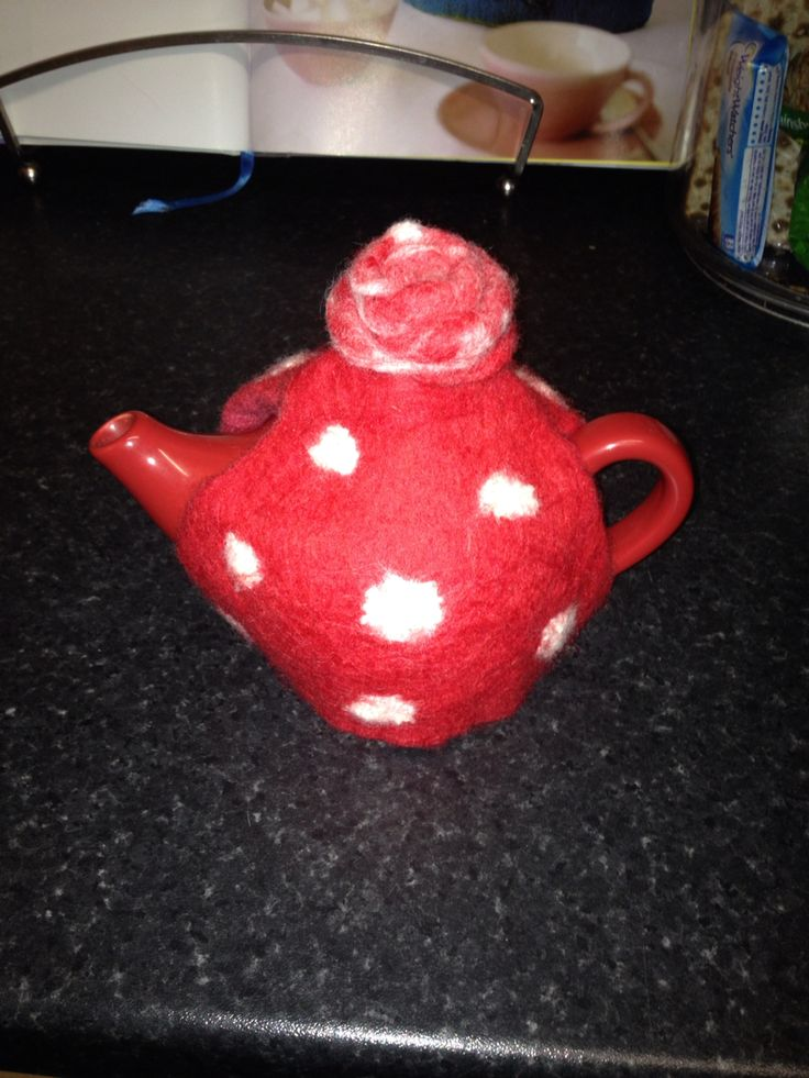 Wet felt tea cosy that I made for a friend