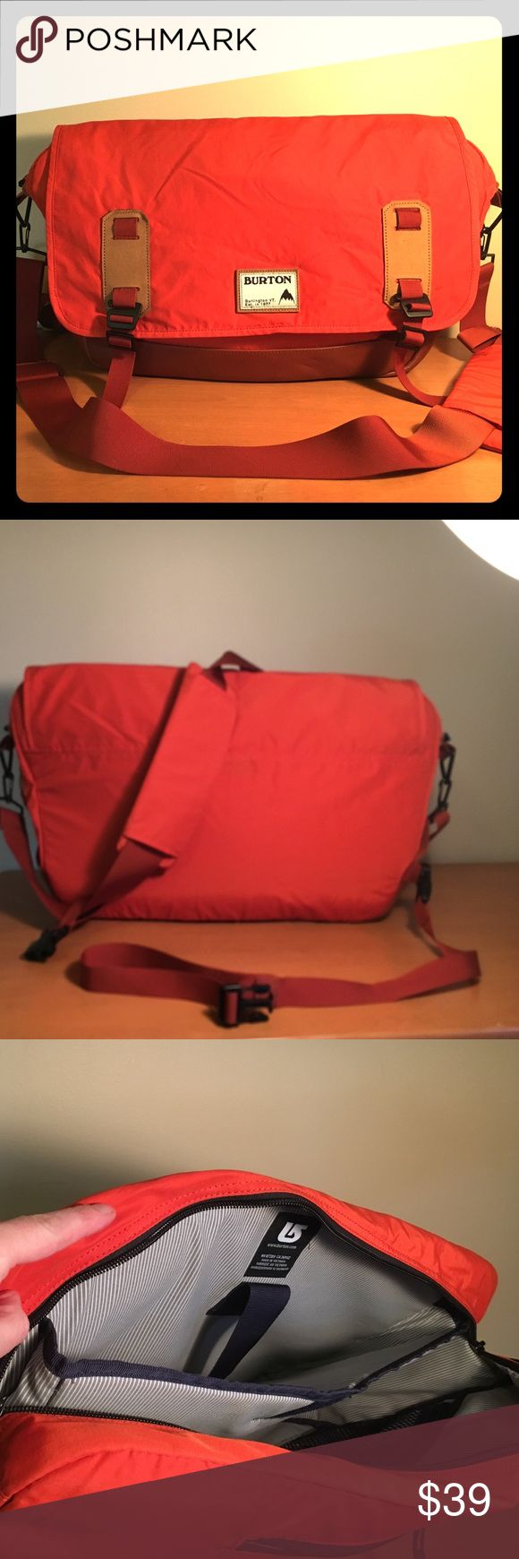 Burton Flint Messenger Bag - Orange Classic Burton messenger bag in rust orange with leather bottom.  Laptop padded pocket inside and multiple other zipped and open pocket on inside and out.  Great condition.  Removable shoulder and messenger straps. Burton Bags Laptop Bags