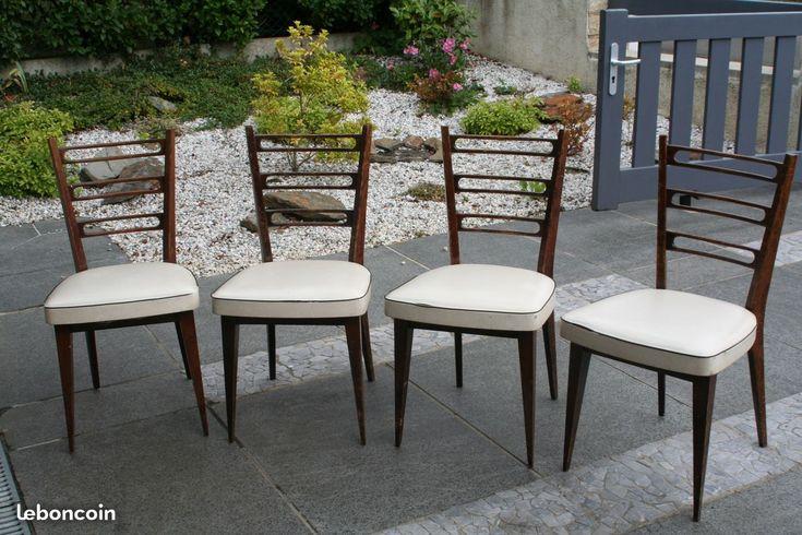 Vends 4 chaises année 50 en bon état très joli design joli bois siège à revoir Système d'assemblages Monobloc Autres photos sur simple demande