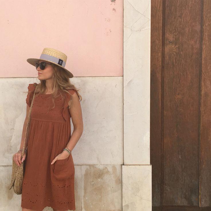 FIONA VANI / cotton dress / hat By Chapoléone / Alfama / Lisbon / wavy hair
