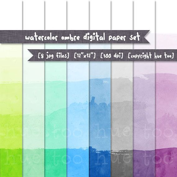 Ombre Dip Dye Digital Paper Watercolor Texture Ombre By