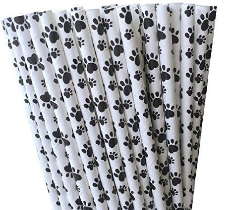 Paper Straws Paw Print Straws Animal Theme Dog by ThePartyGnome