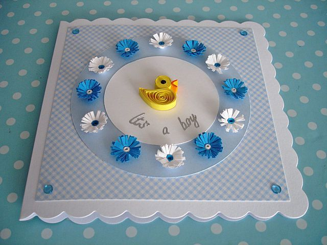 Baby boy quilled card