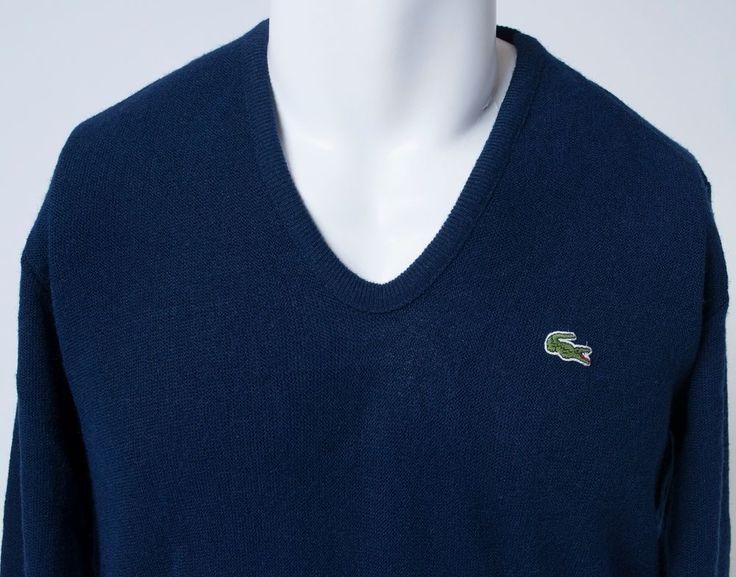 Izod Lacoste V-Neck Pullover Jumper Long Sleeve Orlon Acrylic Mens Medium VTG #Lacoste #VNeck