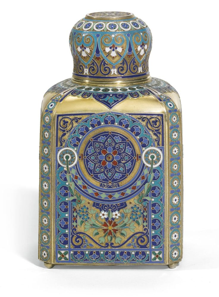 Silver-Gilt Cloisonné Tea Caddy