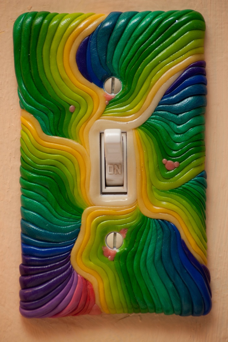 Arts and crafts switch plate covers - Beautiful Rainbow Polymer Clay Switchplate Cover
