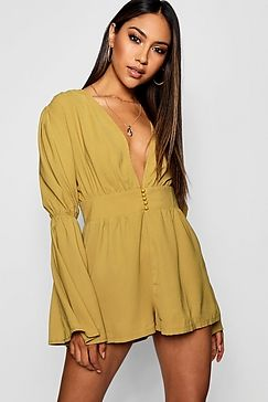 989b69ac37c2 Plunge Button Front Flare Sleeve Playsuit