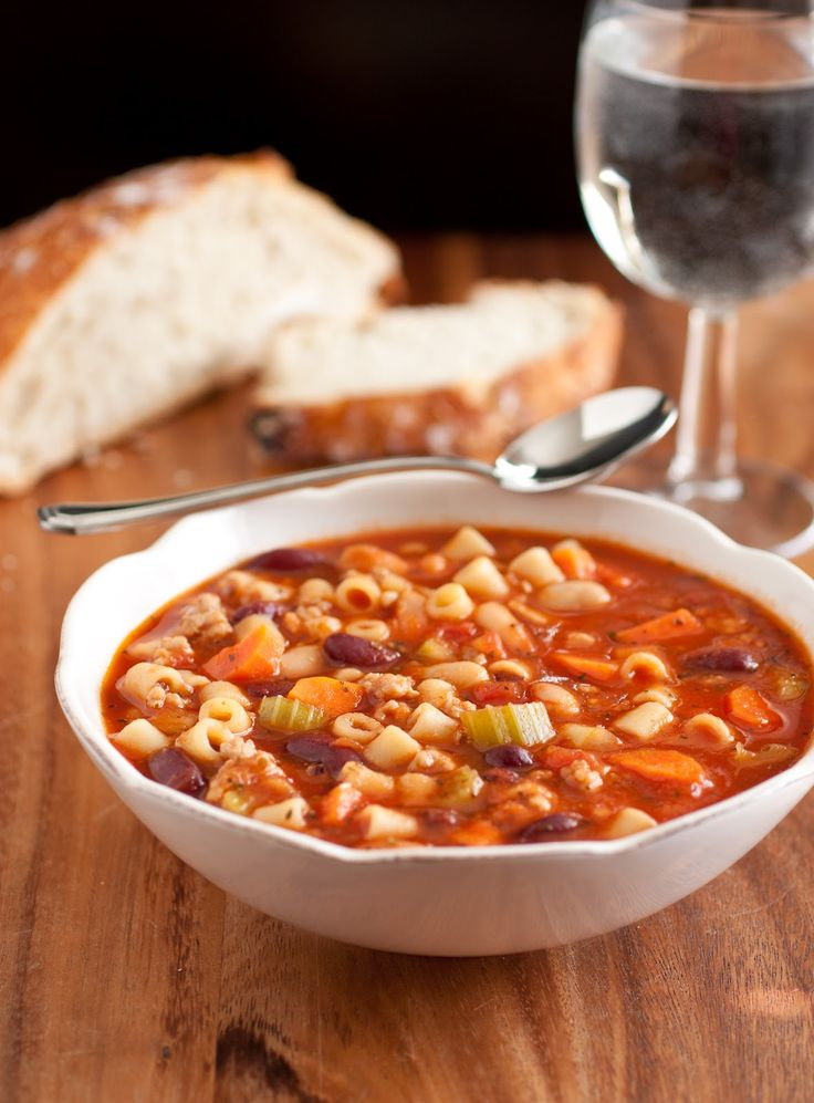 Olive Garden Pasta Fagioli Soup (Copycat Recipe) by Cooking Classy - made this soup for supper tonight - very hearty!  Didn't follow exactly, but a great bowl of 'stoup' - suggest cooking pasta seperately and adding to bottom of bowl and putting soup on top.
