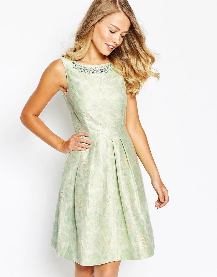 Tahari+Floral+Jacquard+Dress+With+Embellished+Necklace
