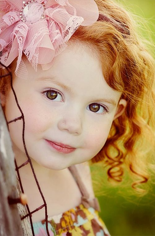 I hope our children end up with brown eyes & red hair... adorable. (And it's likely... red-headed mother on my side, red-headed grandmother on his!)