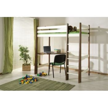 Pat din lemn de pin cu birou Milosz pentru copii