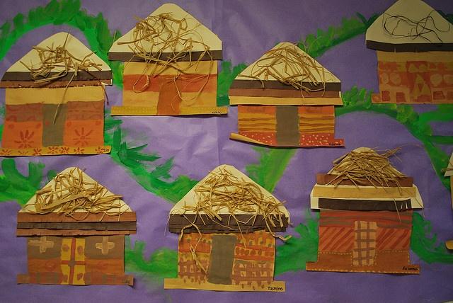 Bij het woordje HUT Ander idee: gezellige 'hut' maken uit een grote, kartonnen doos!