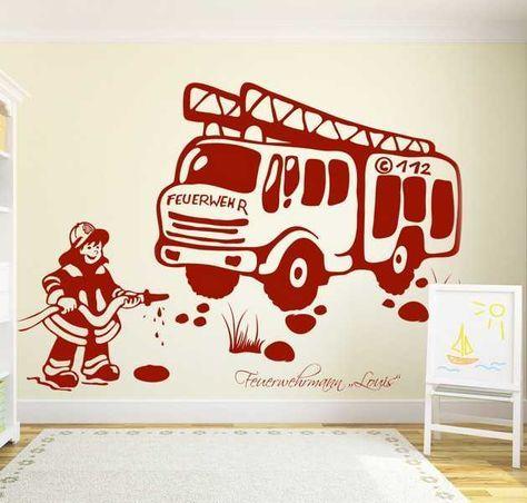 Perfect Wandtattoo Feuerwehr mit Wunschnamen u Feuerwehrmann Eine tolle Dekom glichkeit f r Kinderzimmer und Babyzimmer Wandaufkleber