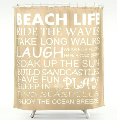 Beach Life Rules shower curtain, available in a wide variety of colors: http://www.completely-coastal.com/2016/01/coastal-beach-shower-curtains.html
