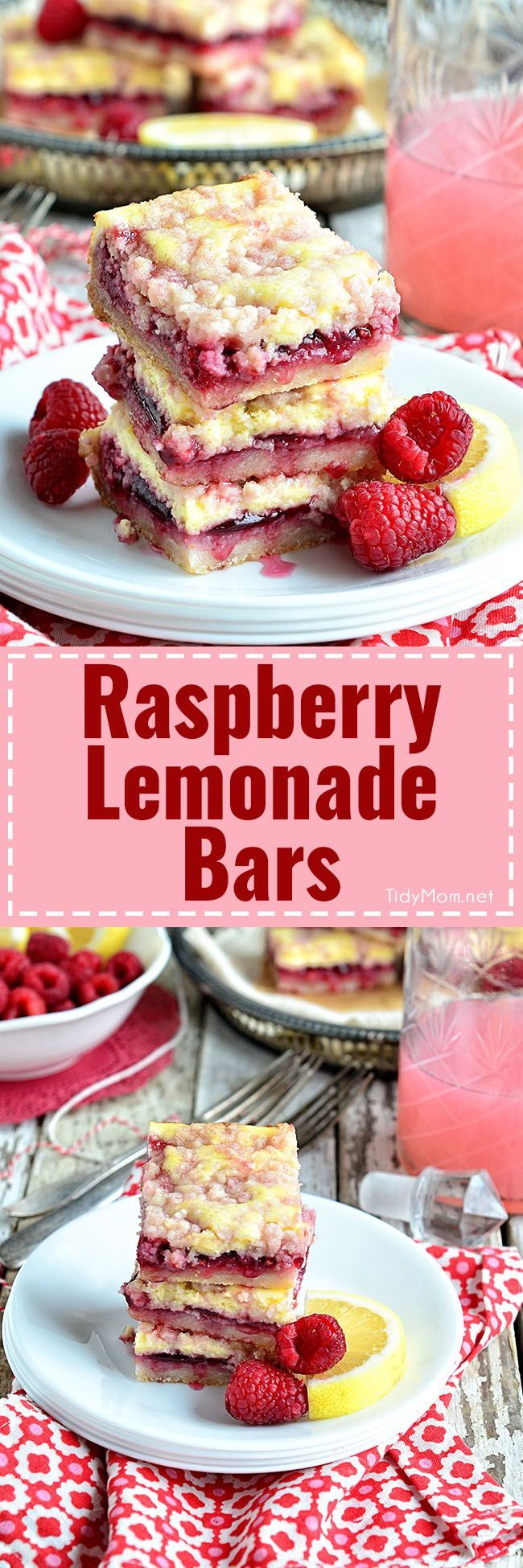 Raspberry Lemonade Bars are bright, cheery, packed with raspberries and tangy lemonade to help beat the winter blues, and the best part? There's a little cheesecake tucked in too. Raspberry Lemonade Bars with streusel topping recipe at TidyMom.net