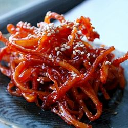 Spicy Cuttlefish (squid) Korean Side Dish. Totally delicious with a hot bowl of rice. Making asap!