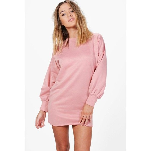 Boohoo Petite Lily Blouson Sleeve Oversized Sweat Dress ($18) ❤ liked on Polyvore featuring dresses, petite red dress, lily dress, sleeve cocktail dress, red cocktail dress and sleeved dresses