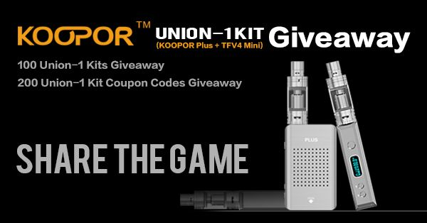 100 Union-1 Kits (KOOPOR Plus   TFV4 Mini) giveaway!                  200 seats who can only pay $39.99 to get the Union-1 Kit (KOOPOR Plus   TFV4 Mini)! #kooporgiveaway