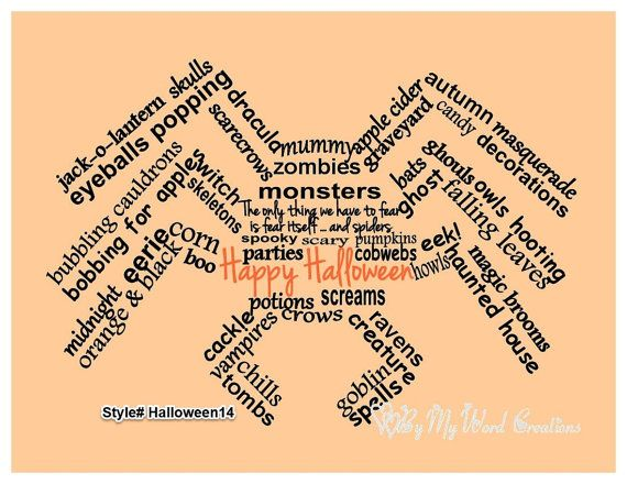 Handmade Halloween Spider word art typography by ByMyWordCreations, $20.00