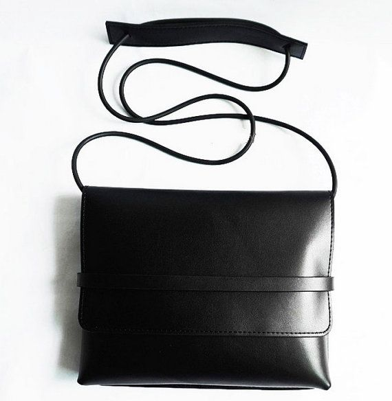 Simple Black Leather Crossbody bag with wood and by CloudAndRock