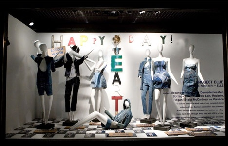 Barneys New York and Elle magazine teamed up with eight high-end designers (Alexander Wang, Ann Demeulemeester, Bottega Veneta, Derek Lam, Rodarte, Rogan, Stella McCartney and Versace) to create couture pieces from upcycled denim to benefit Oceana. Photo: Barneys' Madison Ave. window display of the pieces. (story via TreeHugger)