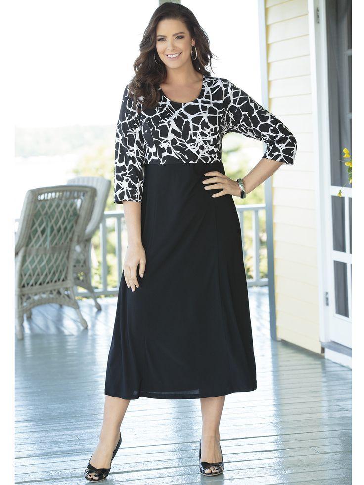 Plus Size Matte Jersey Princess Seam Empire Dress