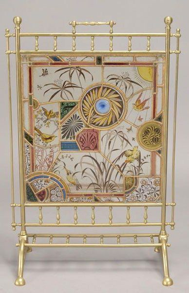 Aesthetic Movement Stained Glass Fire Screen, 35 1/2 x 23 1/2 inches (89 x 58.5 cm)