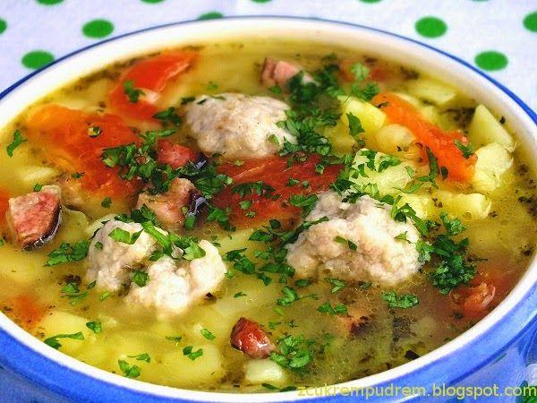 Zupa ziemniaczano - porowa z pulpecikami