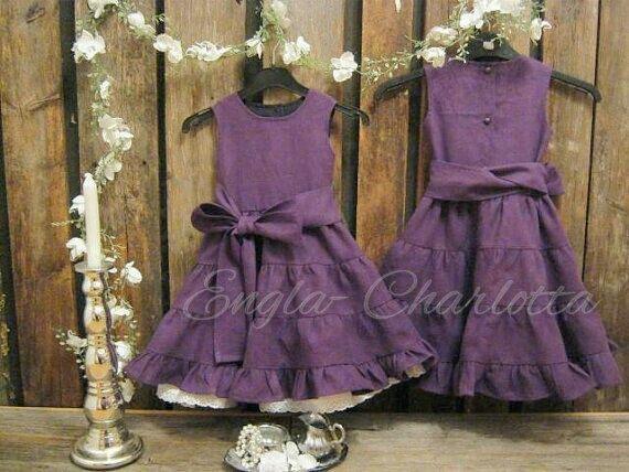 Toddler girl birthday dress. Plum purple flower girl dress. Girls linen ruffle dress. Eggplant rustic flower girl dress, girls wedding dress