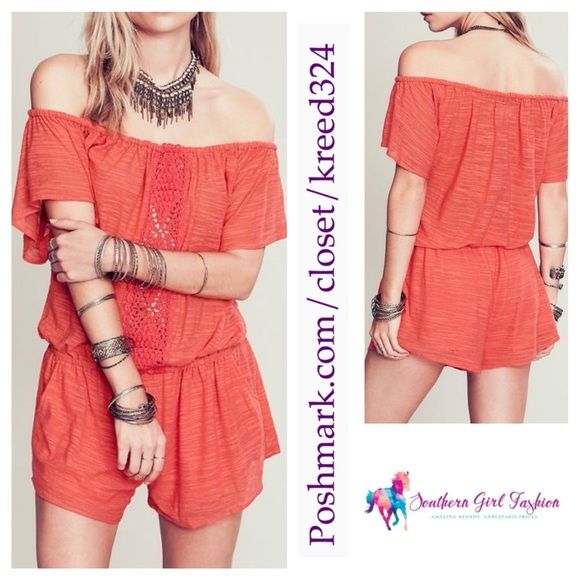 """ETERNAL SUNSHINE CREATIONS Romper Crochet Jumpsuit Size XS/S. New With Tags $188.  Elastic waist / shoulders. Pockets & lined shorts. *By ESC for Free People *100% Polyester   Measurements for XS/S (flat): Top: 17"""" (extended: 32"""").  Waist: 13"""" (extended: 22"""").  Underarm to Underarm: 23"""" Sleeve: 9"""" Inseam: 2"""" Length: 33""""   ❗️ Please - no trades, PP, holds, or Modeling.   ✔️ Reasonable offers considered when submitted using the blue """"offer"""" button.    Bundle 2+ items for a 20% discount…"""