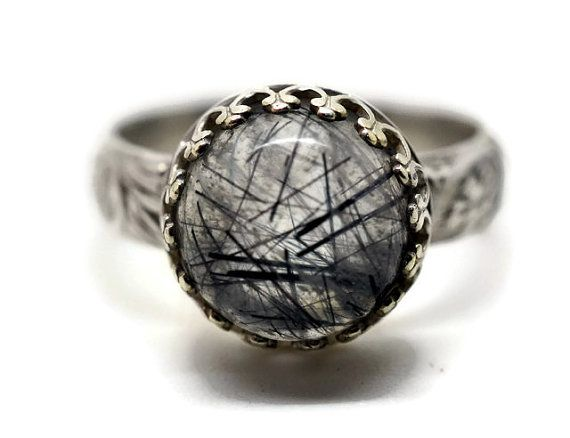 Tourmalinated Quartz Ring, Renaissance Ring, Custom Engraving, Tourmalated Quartz, Grey Gemstone Ring, Secret Message Jewelry