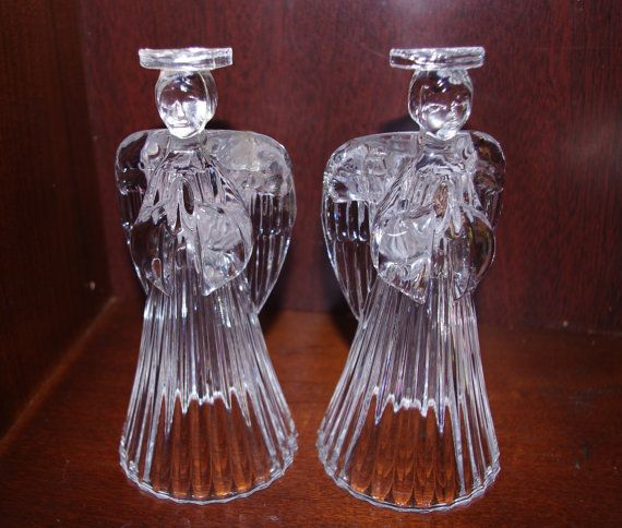 A Pair Of Vintage 24 Lead Crystal Angel Candle Holders