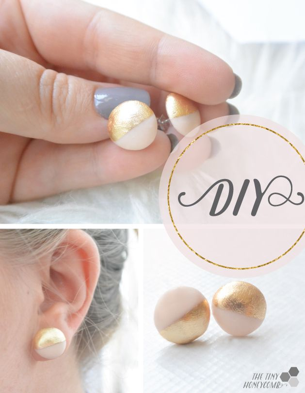 DIY Earrings With Gold Leaf | The Tiny Honeycomb                                                                                                                                                                                 More