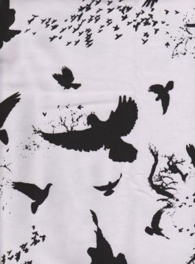 KNIT fabric: Poe birds on white fabric, cotton lycra fabric. Sold by 1/2 yard. by MyDarlingFabrics on Etsy
