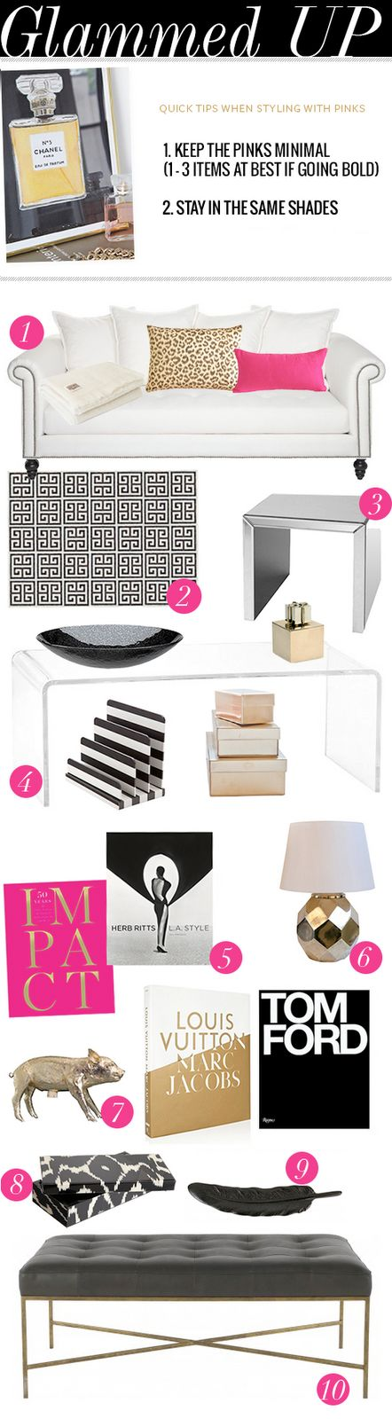 Just my style: glam, black white, gold, pink and leopard!! Yay!