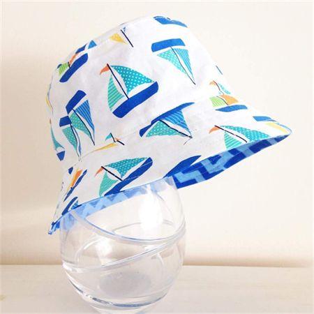 Boys summer hat in cool boat fabric - Handmade by Pleats and Treats on www.madeit.com.au/pleatsandtreats