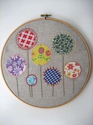 embroidery wall hanging by http://monkeemoomoo.blogspot.com/2010/12/birthday-craft_18.html