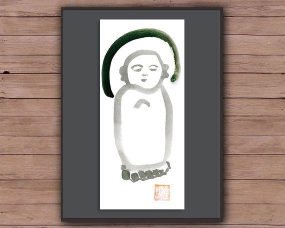 Jizo Baby Buddha Zen Brush Sumi Ink Painting Original by ZenBrush