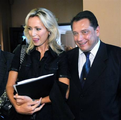 Former prime-minister Jiri Paroubek with his friend actress Katerina Brozova.