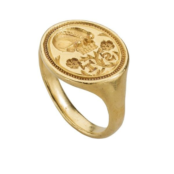 Renaissance Memento Mori Signet Date: ca. 1600 Culture: British Medium: Gold Dimensions: Weight: 12.2 g.; circumference: 51.3 mm.; size: US 6.5, UK M ½ Classification: Metalwork-Gold
