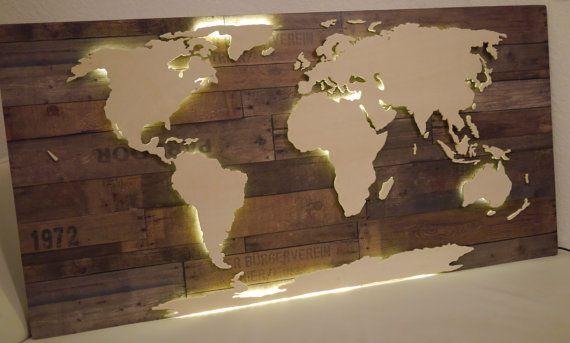 Beleuchtete 3D-Weltkarte aus Holz Vintage-Look von merk!echt auf Etsy