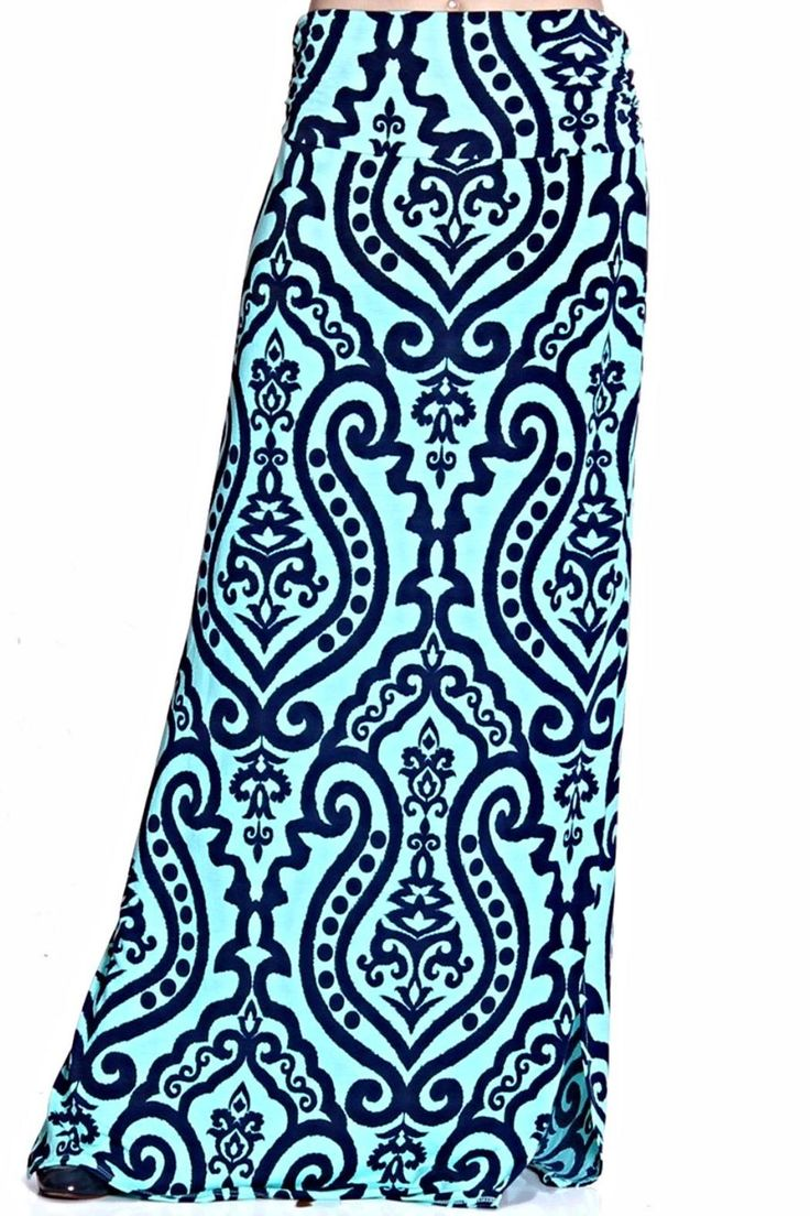 Super cute teal maxi skirt with navy detail. Pair with white fitted top and brown sandals to complete the look!   Blue Maxi Skirt by Urim . Clothing - Skirts - Maxi Illinois